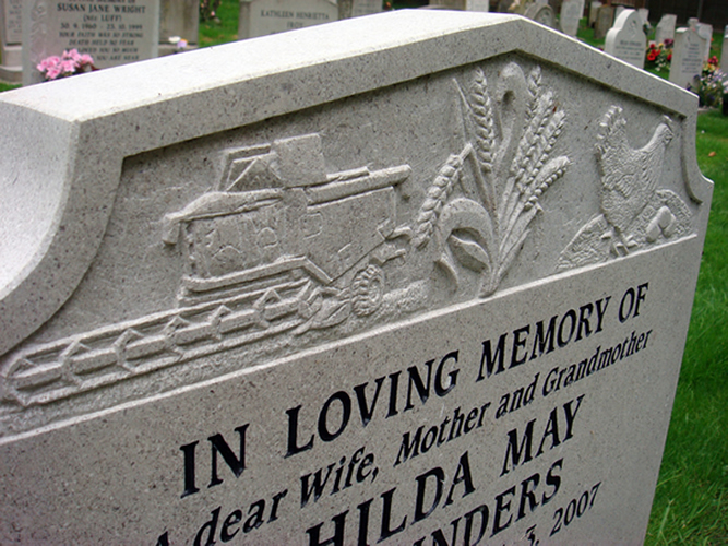 Carvings on memorials monuments gravestone and headstones